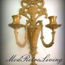 Art Deco Nouveau Brass Wall Sconce Dual Arm Vintage Candle Holder Cast Metal