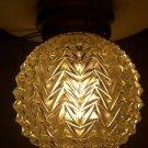 Vintage Cut Glass Crystal Round Globe Hollywood Regency Ceiling Light Fixture