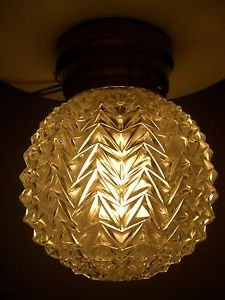 Vintage Cut Glass Crystal Round Globe Hollywood Regency Ceiling Light Fixture