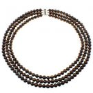 """8mm Round Dyed Chocolate Cultured Freshwater Pearl 18"""" Three Row Strand Necklace"""