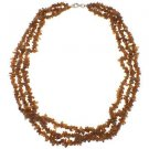 "3-7mm Chips Hessonite Three Row 18"" Sterling Silver Clasp Strand Necklace"