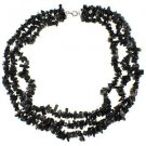 3-7mm Chips Black Onyx 18 Inches Row Strand Long Three Necklace