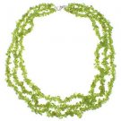 3-7mm Chips Peridot 18 Inches Long Strand Three Row Necklace