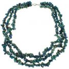 3-7mm Chips Azurite 18 Inches Long Strand Three Row Necklace