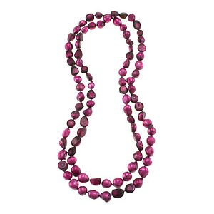 "10-11mm Nuggets Maroon Cultured Freshwater Pearl 45"" Strand Endless Necklace"
