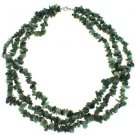 """3-7mm Chips Emerald Three Row 18"""" Sterling Silver Clasp Strand Necklace"""