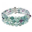 "6-10mm Round  Fluorite 7.5"" Three Row Beaded Strand Journey Bracelet"
