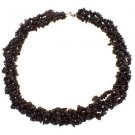 Garnet Twisted Chips 20 Inches Long with Sterling Silver Clasp Strands Necklace