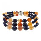"Dyed Lapis Lazuli & Carnelian 7.5"" with Sterling Silver Clasp Beaded Bracelet"