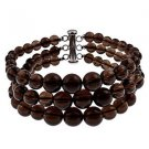 "6-10mm Round Smokey Quartz 7.5"" Three Row Beaded Strand Journey Bracelet"