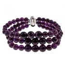 "6-10mm Round Amethyst 7.5"" Three Row Beaded Strand Journey Bracelet"