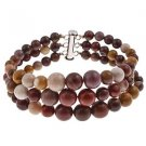 "6-10mm Round Mookaite 7.5"" Three Row Beaded Strand Journey Bracelet"