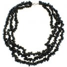 """3-7mm Chips Black Spinel Three Row 18"""" Sterling Silver Clasp Strand Necklace"""