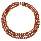 "8mm Round Dyed Orange Shell Cultured Pearl 18"" Three Row Beaded Strand Necklace"