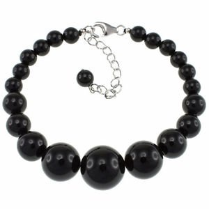 Pearlz Ocean 6-14mm Round Black Onyx 6.5 Inches, Beaded Strand Journey Bracelet