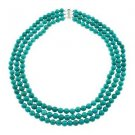 8mm Round, Dyed Turquoise Howlite, Three Row, Beaded Strand, 18 Inches, Necklace