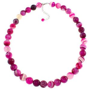"""12mm Faceted Round Pink Agate 20"""" Sterling Silver Clasp Beaded Strand Necklace"""