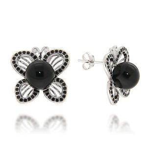 8mm Round Black Onyx Black Spinel 925 Sterling Silver Butterfly Stud Earrings