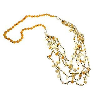 Dyed Orange Agate, Citrine, Freshwater Pearl, Glass Bead, 30 Inches Endless