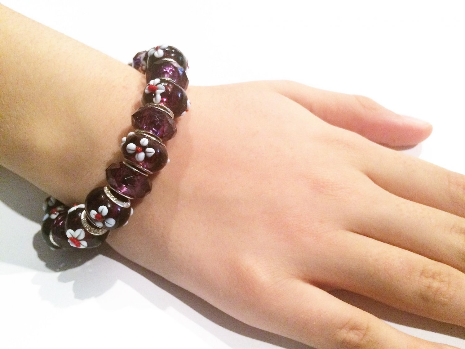 Purple Cowrie Flower European Bead Bracelet