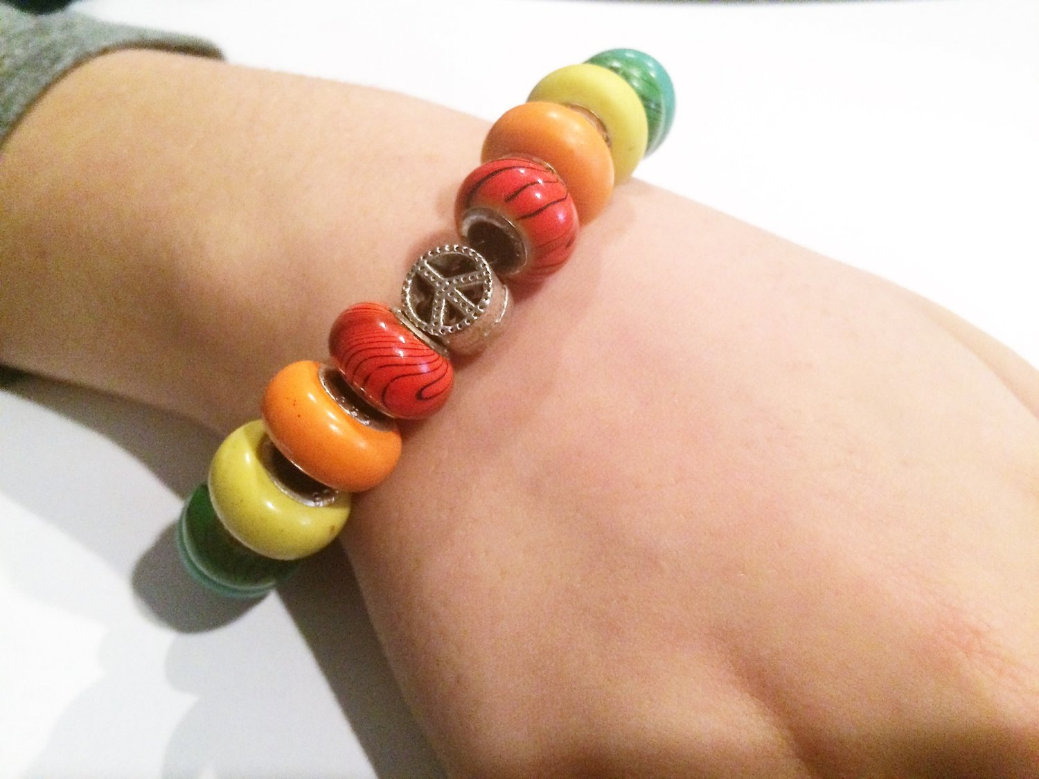 Rainbow Peace European Bead Bracelet