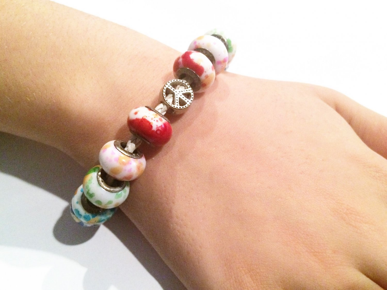SplatterRainbow European Bead Bracelet