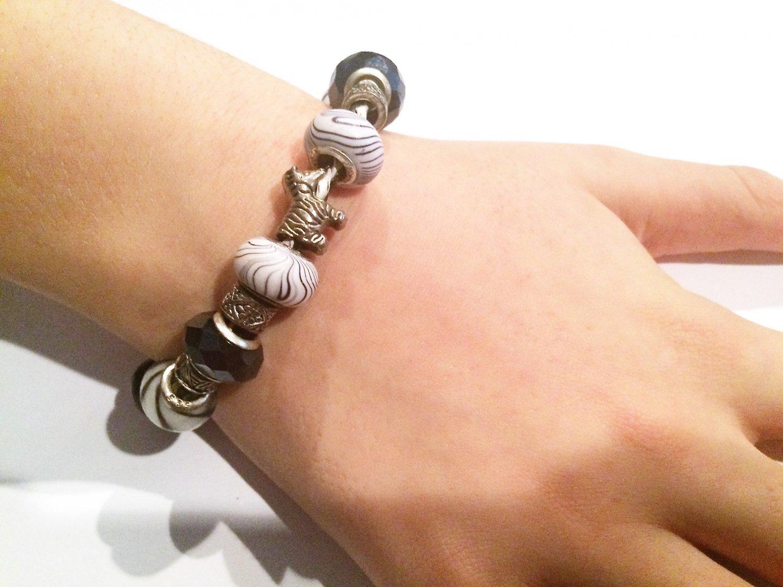 Zebra European Bead Bracelet