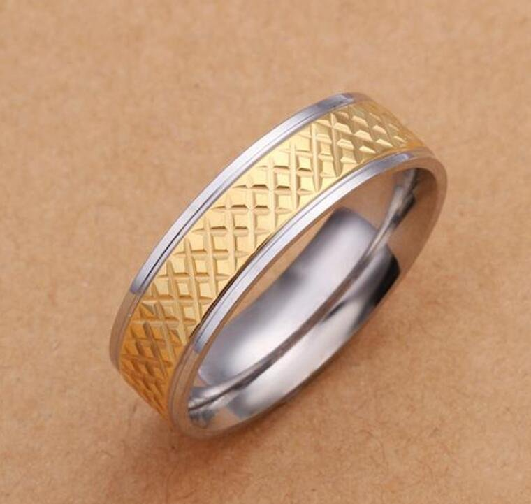 2 Tone gold plated Tire Ring