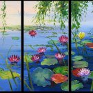 Handmade high quality abstract oil painting:waterlily in the pond
