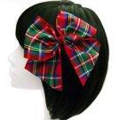 Tartan Hair Bow Large Red Glitter Girl Rockabilly Pinup Retro Christmas Xmas