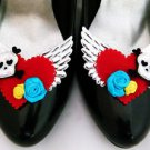 Tattoo ShOe ClipS Heart Skull Rose Red Black Pinup Burlesque Seriously Sassyx ❤