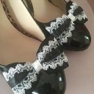Black White Shoe Clips For Shoes Black Satin White Lace Clips 1 PaiR