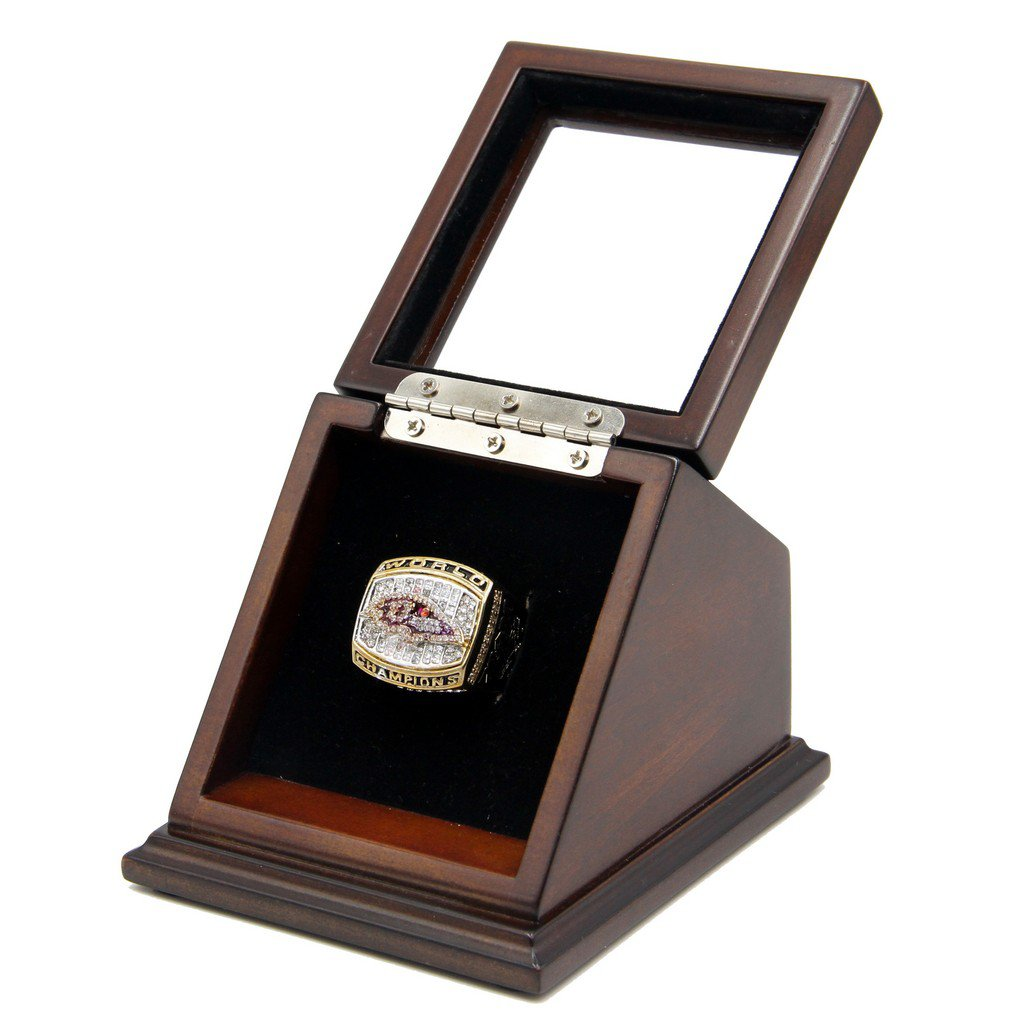 N.F.L 2000 Baltimore Ravens Super Bowl XXXV Replica Championship Rings with Wooden display Case