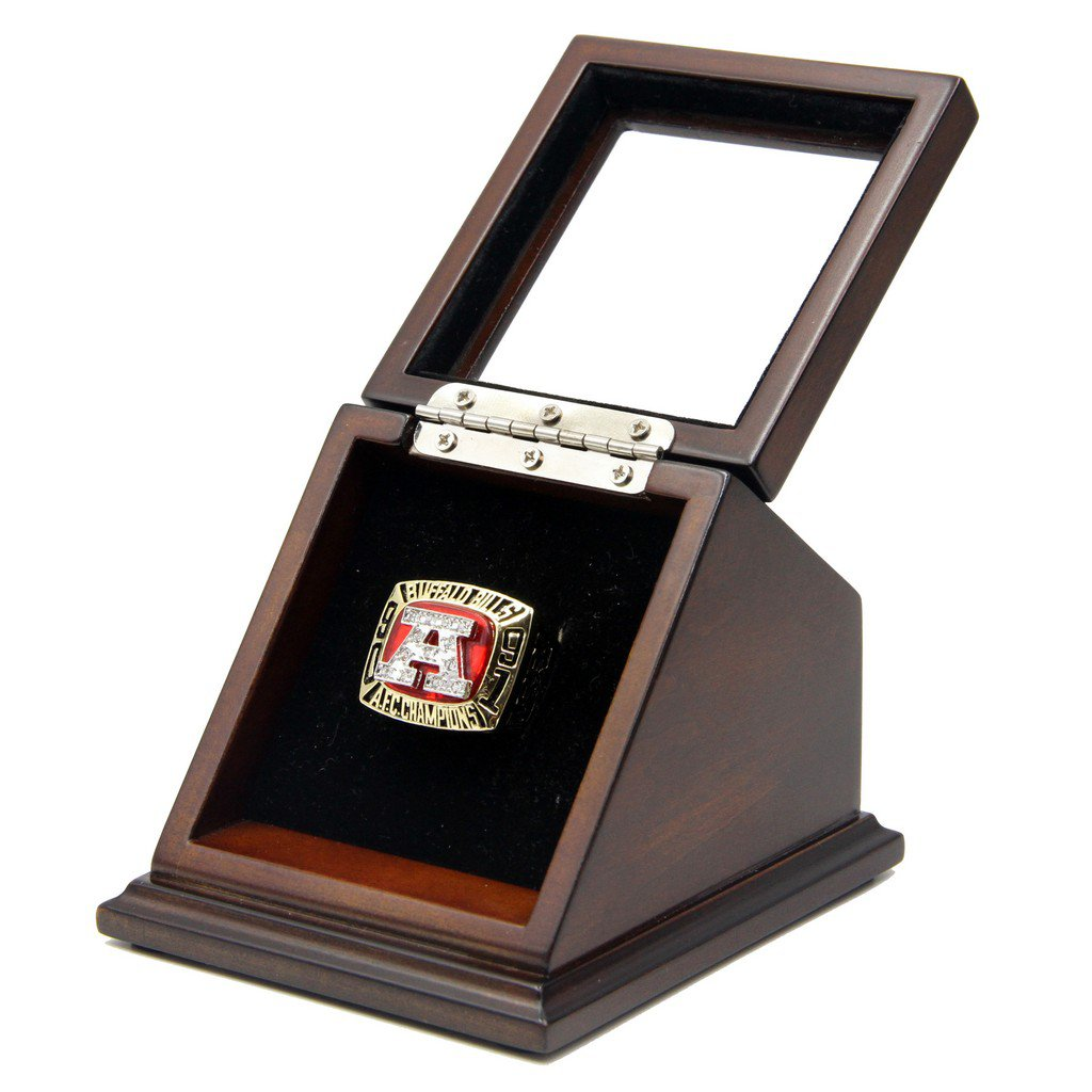 A.F.C 1991 Buffalo Bills SB Replica Championship Ring with Wooden Glass display Case Box Size 11