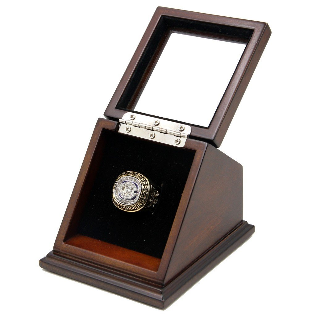 N-F-L 1985 Chicago Bears Super Bowl XX Replica Championship Rings with Wooden display Case