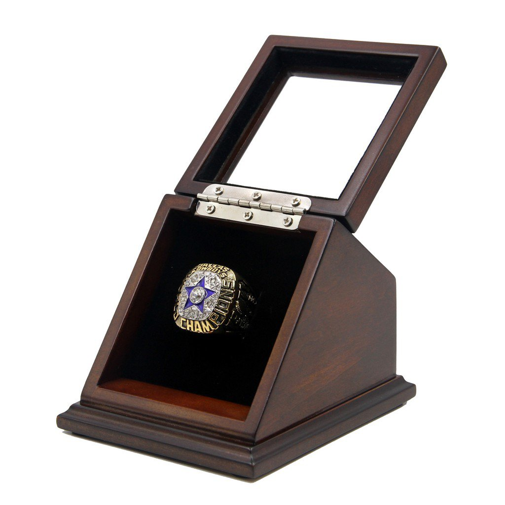 Dallas Cowboys 1971 Super-Bowl VI Replica Championship DAL Rings with Wooden display Case Size 11