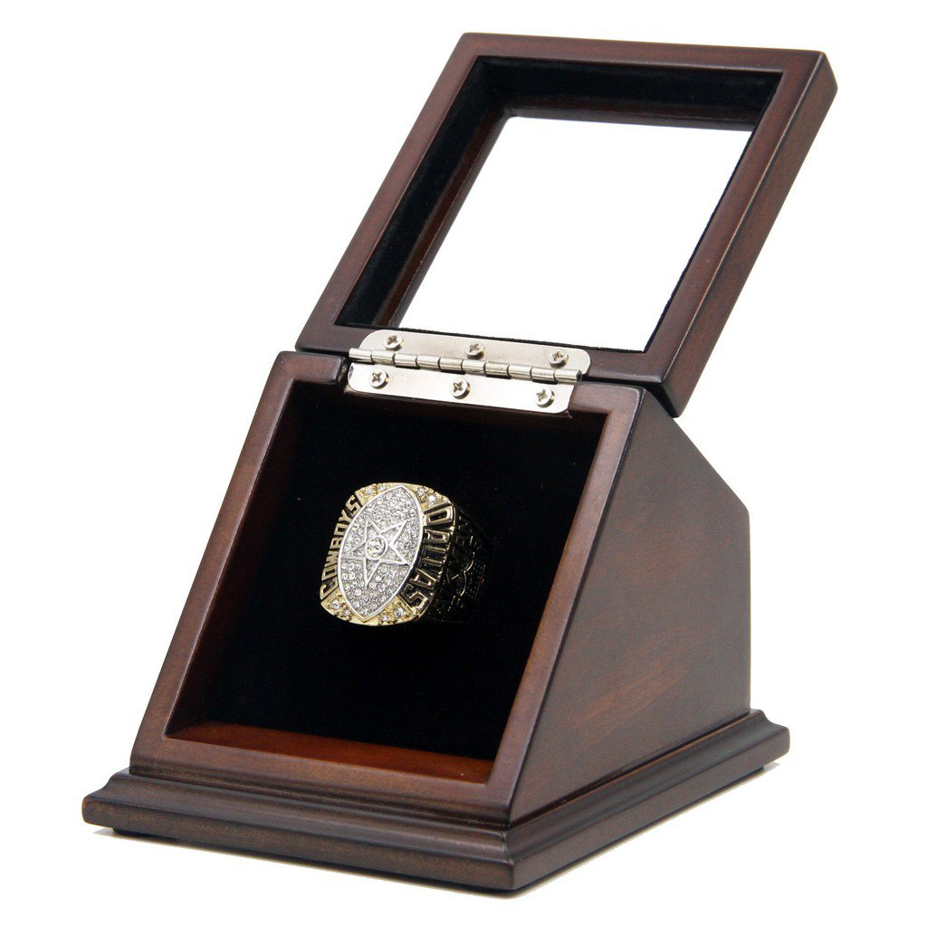 N-F-L 1992 Dallas Cowboys Super Bowl XXVII Replica Championship Rings with Wooden display Case