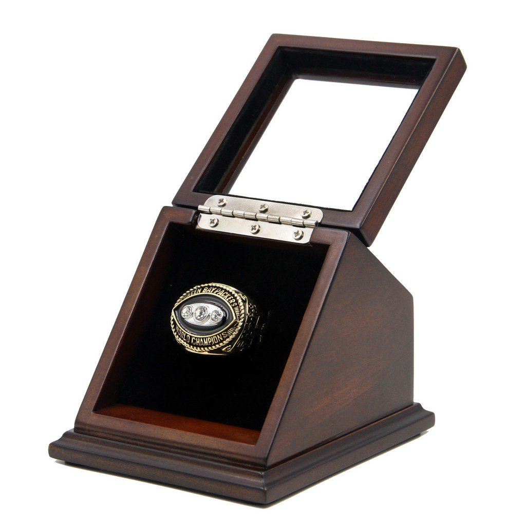 Green Bay Packers 1967 SB II Replica Championship Fan Rings with Wooden display Case Size 11