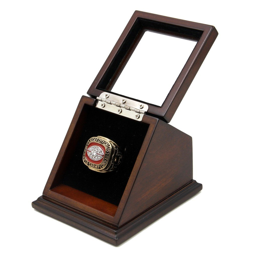 Kansas City Chiefs 1969 SB IV Replica Championship Fan KC Rings with Wooden display Case Size 11