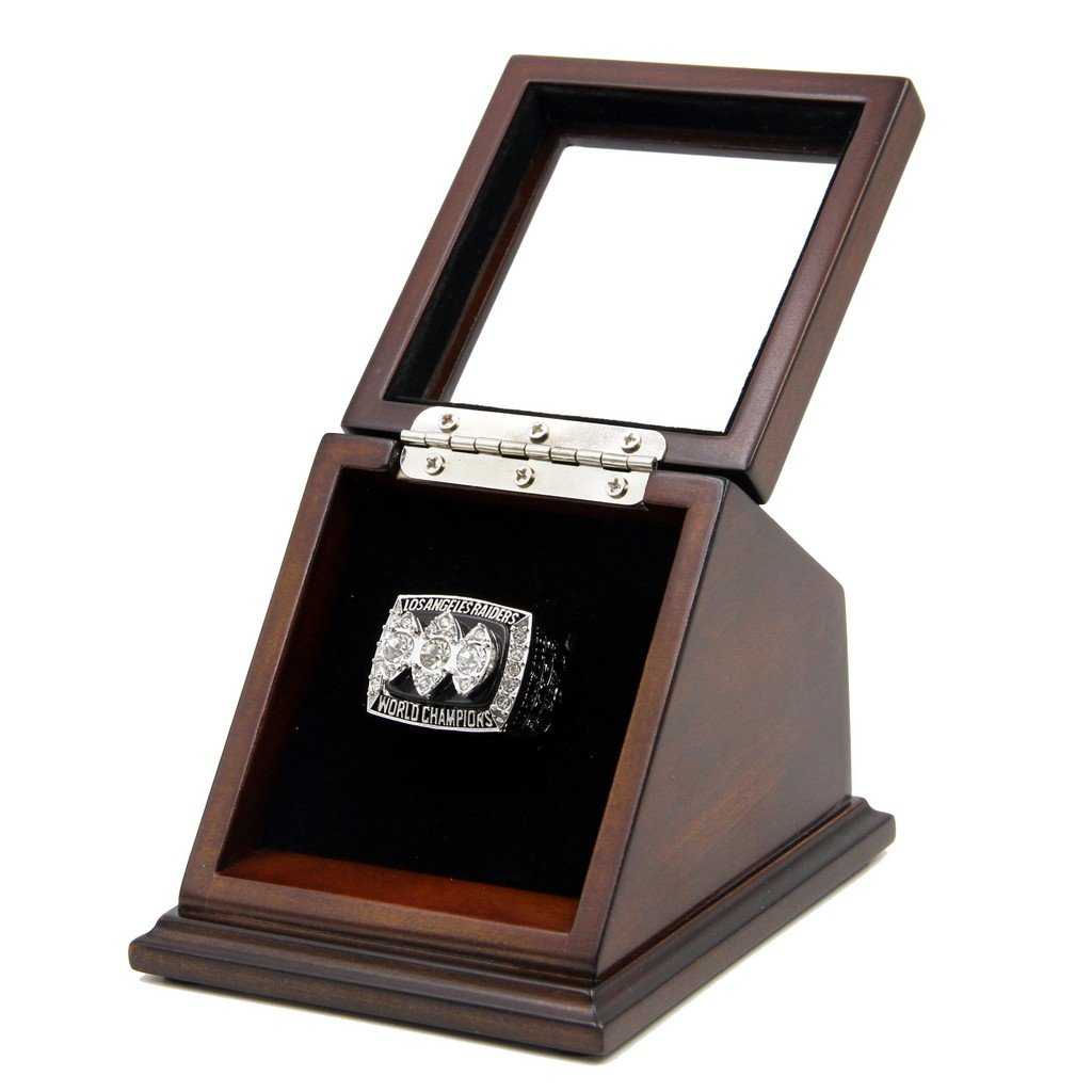 N-F-L 1983 Los Angeles Raiders Super Bowl XVIII Replica Championship Rings with Wooden display Case