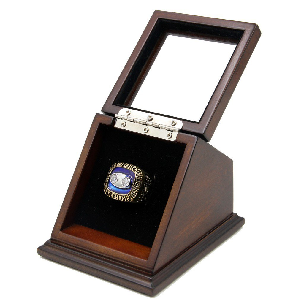 Miami Dolphins 1973 Super*Bowl VIII Replica Championship Fan Rings with Wooden display Case Size 11
