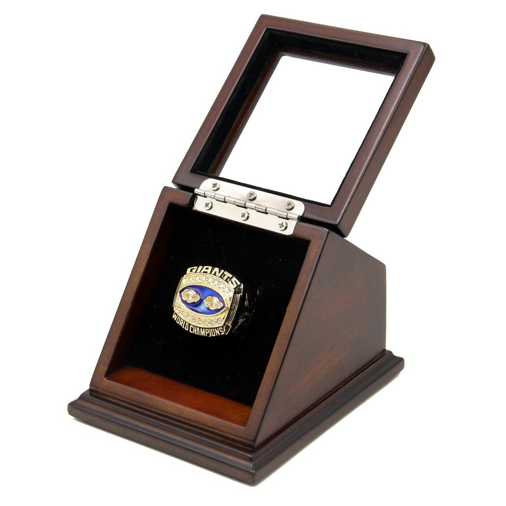 N-F-L 1990 New York Giants Super Bowl XXV Replica Championship Rings with Wooden display Case