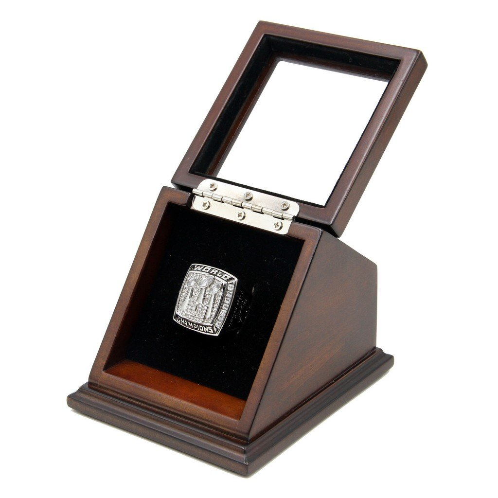 N-F-L 20 07 New York Giants Super Bowl XLII Replica Championship Rings with Wooden display Case