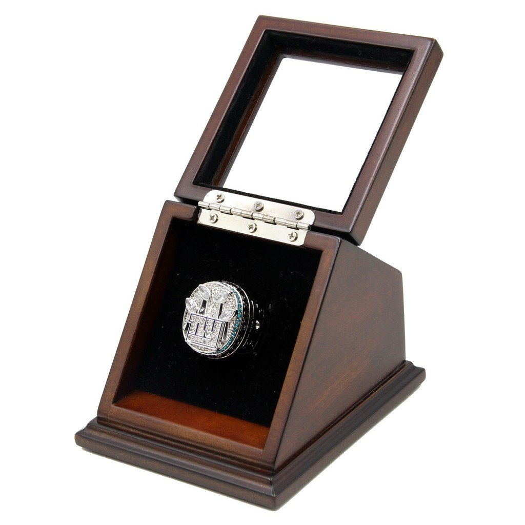 N-F-L 20 11 New York Giants Super Bowl XLVI Replica Championship Rings with Wooden display Case
