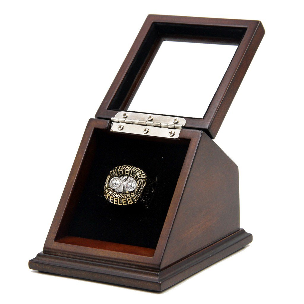 N-F-L 1975 Pittsburgh Steelers Super Bowl X Replica Championship Rings with Wooden display Case