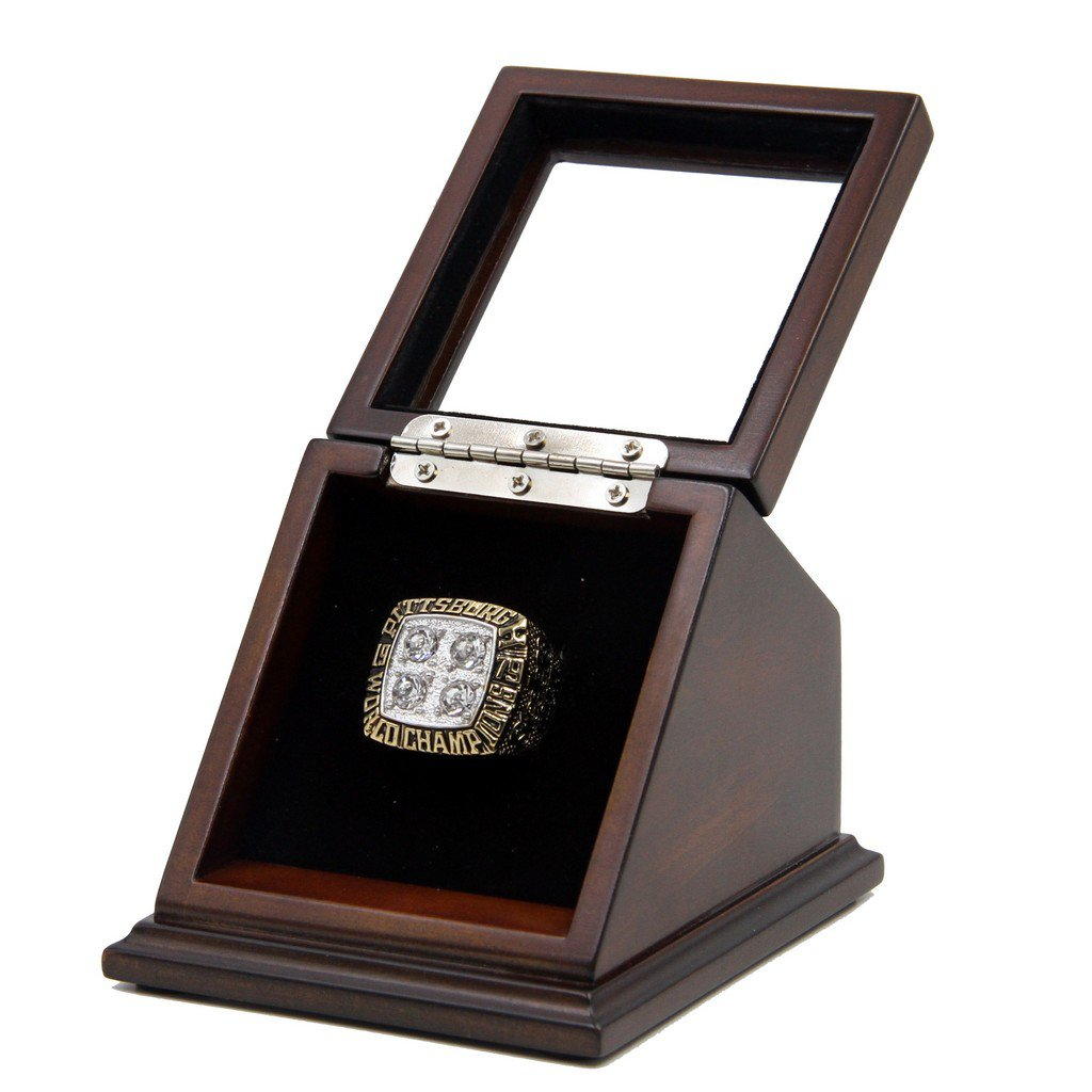 N-F-L 1979 Pittsburgh Steelers Super Bowl XIV Replica Championship Rings with Wooden display Case