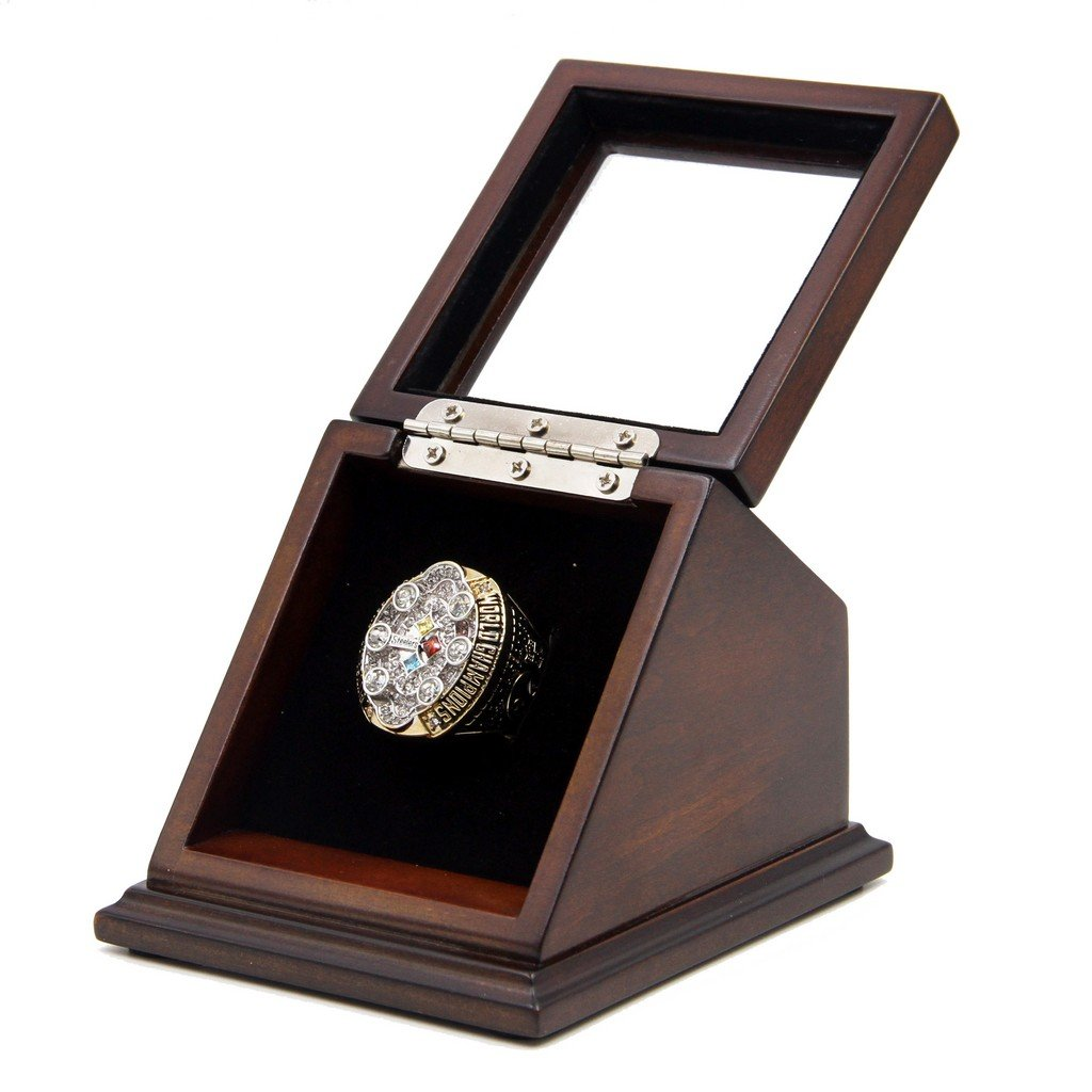 Pittsburgh Steelers SB 2008 XLIII Replica Championship Fan Rings with Wooden display Case Box