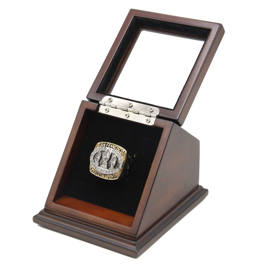 N-F-L 1988 San Francisco 49ers Super Bowl XXIII Replica Championship Rings with Wooden display Case