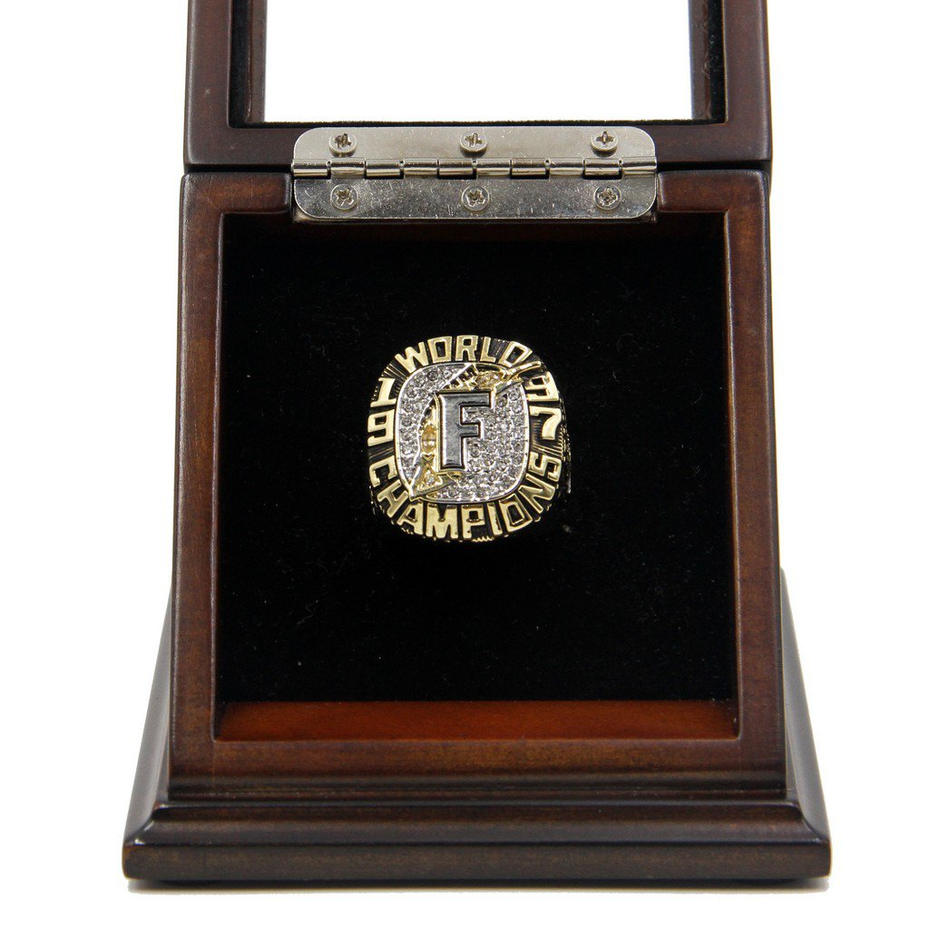 M-L-B 1997 Florida Marlins World Series Replica Championship Rings with Wooden display Case