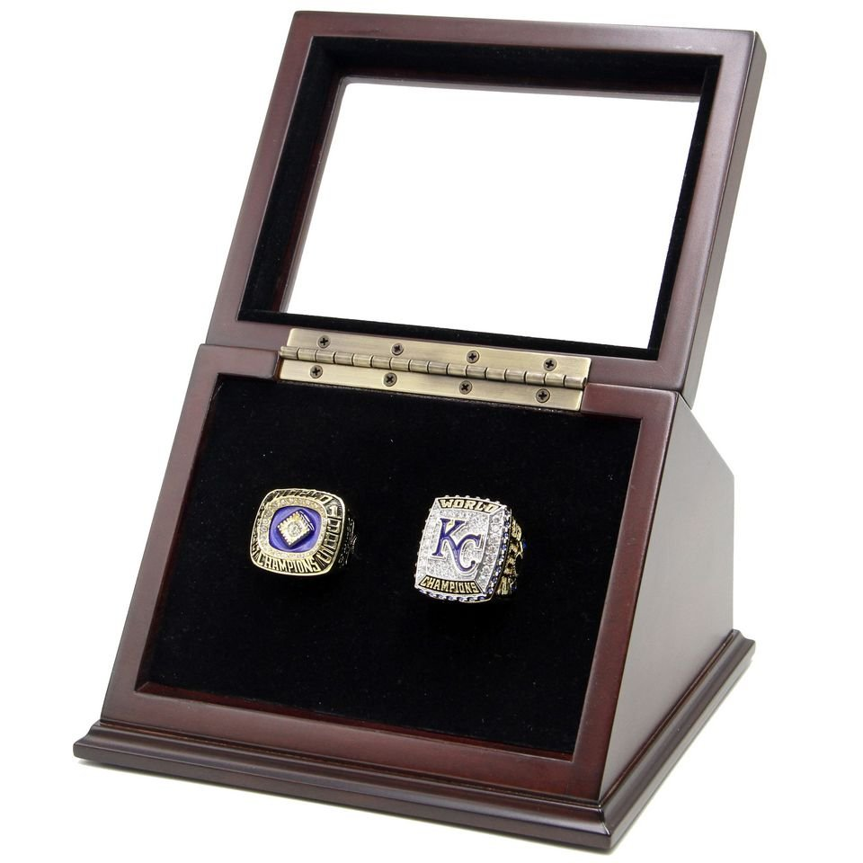 1985 2015 Kansas City KC Royals Championship Rings Set with Wooden display Case Size 11